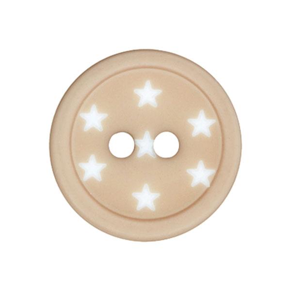 Kunststoffknopf Sterne – beige