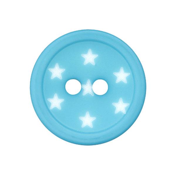Kunststoffknopf Sterne – türkis