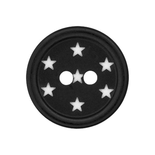 Kunststoffknopf Sterne – schwarz