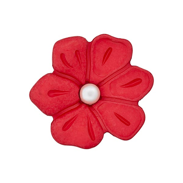 Schmuckknopf Blume 3 – rot