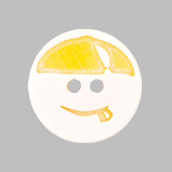 Kunststoffknopf Smiley – gelb/weiss