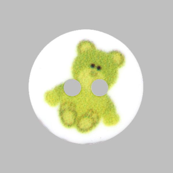 Kunststoffknopf Bärchen – grün