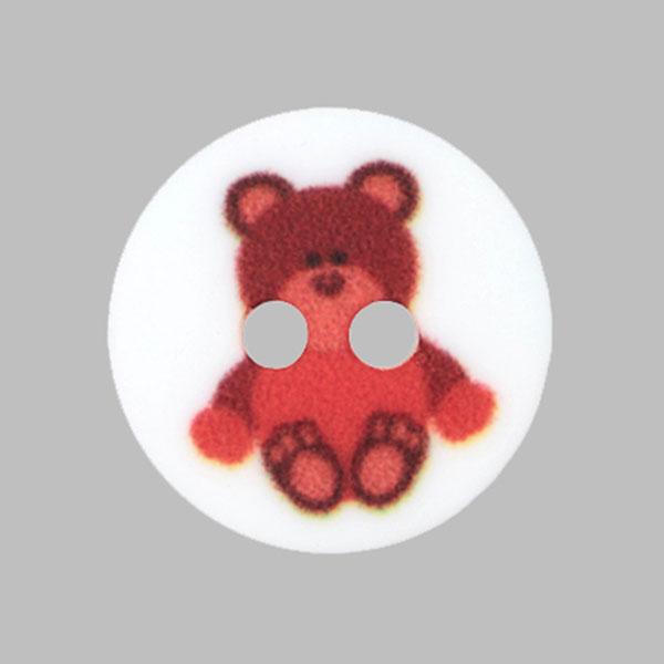 Kunststoffknopf Bärchen – rot