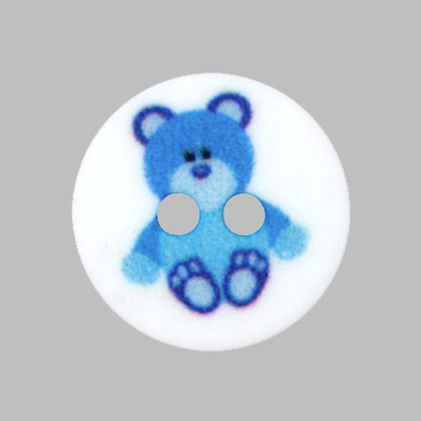 Kunststoffknopf Bärchen – blau