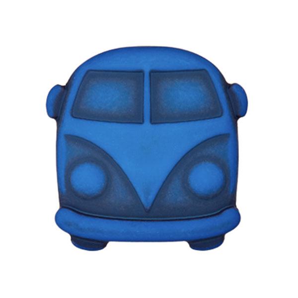 Königsblauer Kunststoffknopf in VW-Bulli-Form