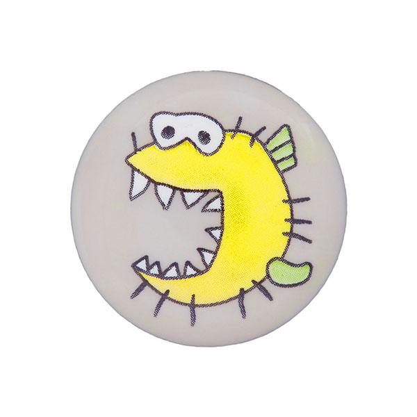 Kunststoffknopf Monster 10 - hellgrau