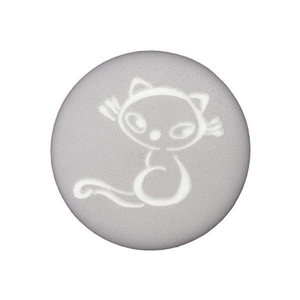 Polyesterknopf Katze 9 – grau