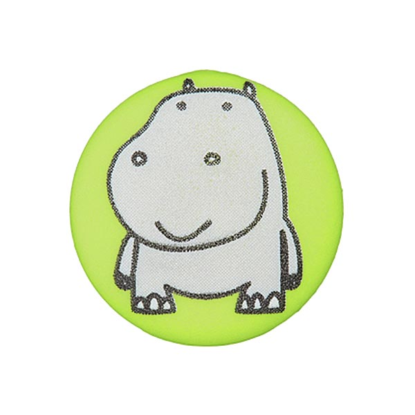 Polyesterknopf in Apfelgrün mit Nilpferd