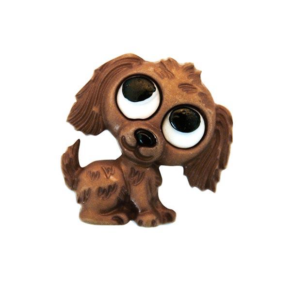 Polyesterknopf Hund Öse - braun