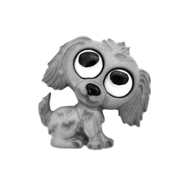 Polyesterknopf Hund Öse - grau
