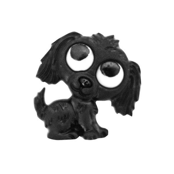 Polyesterknopf Hund Öse - schwarz