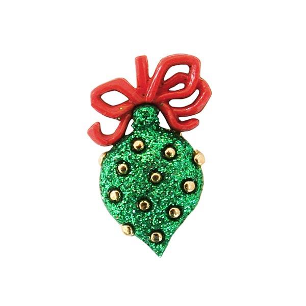 Weihnachtsknopf Weihnachtskugel - grün/rot