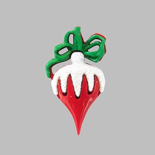 Weihnachtsknopf Weihnachtskugel - rot/grün