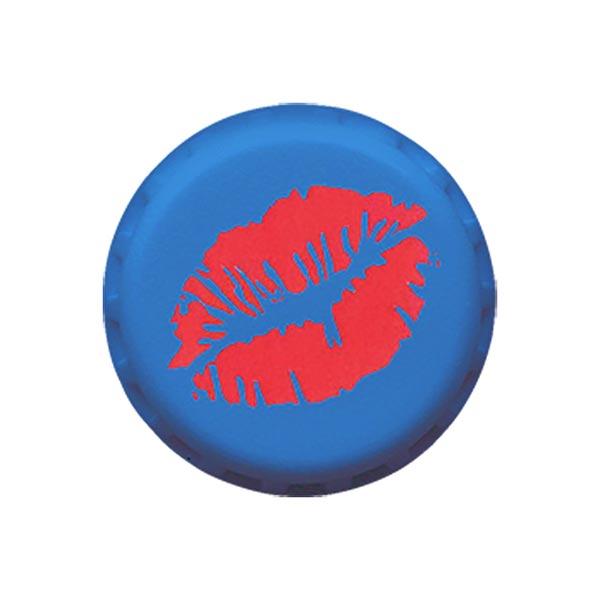 Polyesterknopf Kussmund 4 - blau