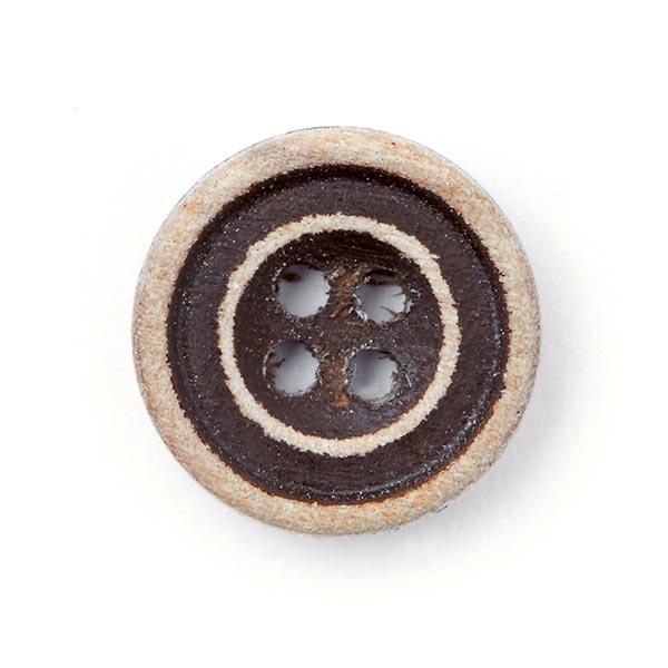 Holzknopf 4-Loch - dunkelbraun