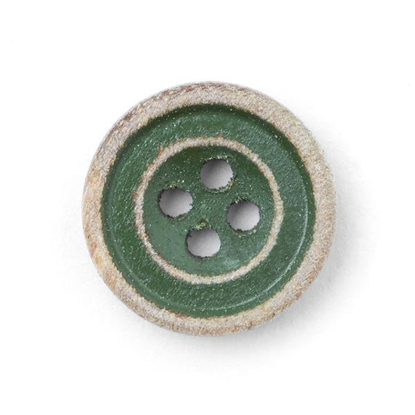 Holzknopf 4-Loch - dunkelgrün