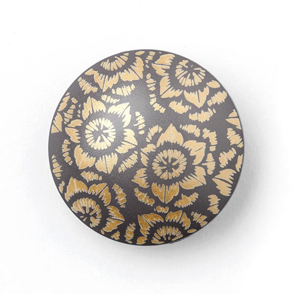 Mantelknopf FLORI GOLD - grau/gold
