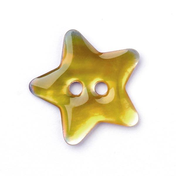 Perlmuttknopf Stern - gelb