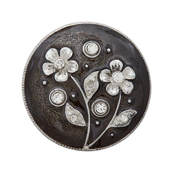 Ösenknopf mit Blumen aus Strasssteinen