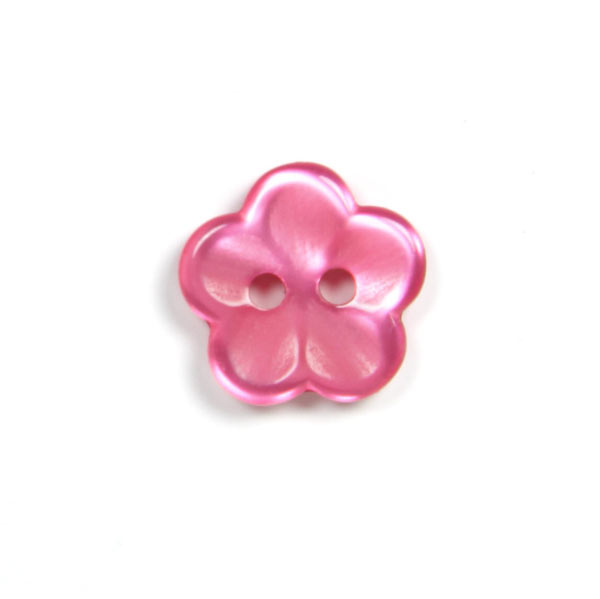 Pinkfarbener Kunststoffknopf 'glänzende Blume'