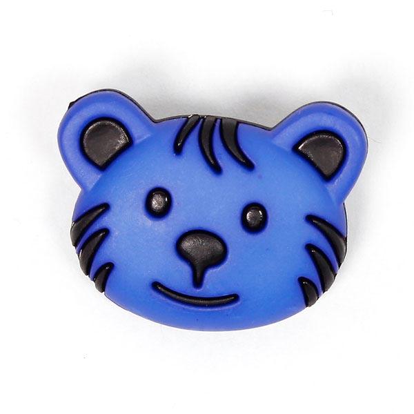 Blauer Kinderösenknopf 'Bärengesicht'