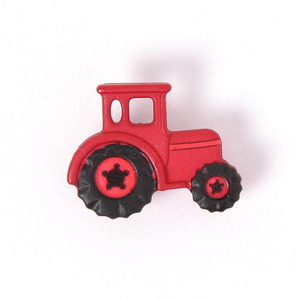 Roter Kunststoffknopf 'Traktor'