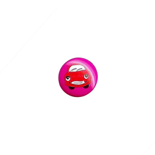 Pinkfarbener Kunststoffknopf mit lächelndem Auto