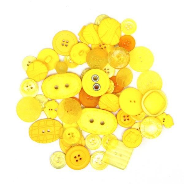 Gelbe Knöpfe zum Basteln und Nähen