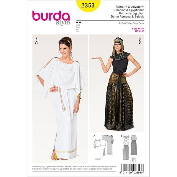 Traje: Romana y egipcia: carnaval, Burda 2353 | 34 - 44 - Patrones ...