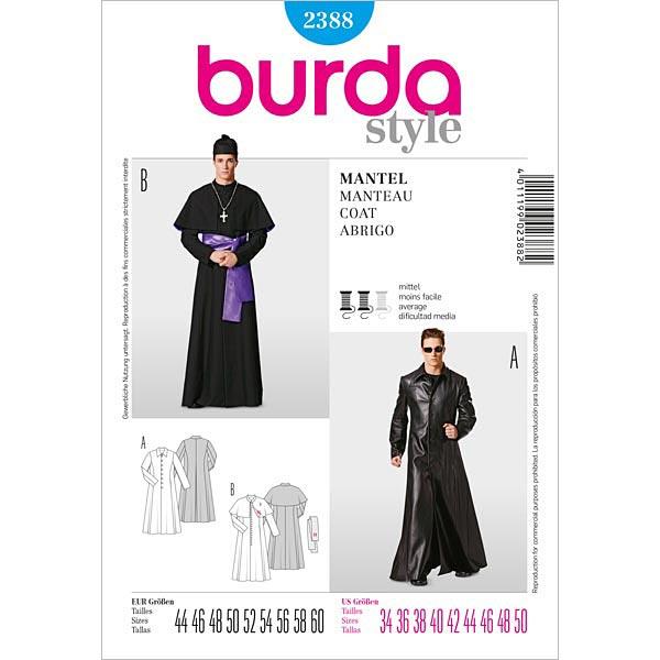 Abrigo para hombres / Capa con capucha, Burda 2388 - Patrones de ...