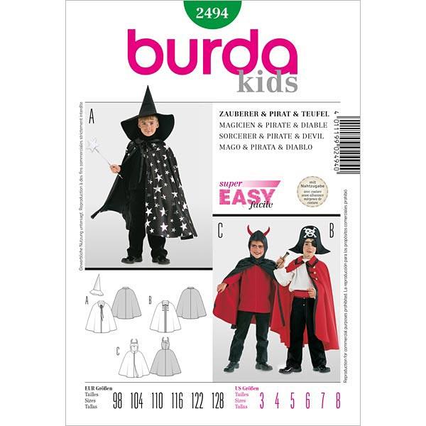 Mantella Per Costume Da Bambino Burda 2494 Cartamodelli Carnevale