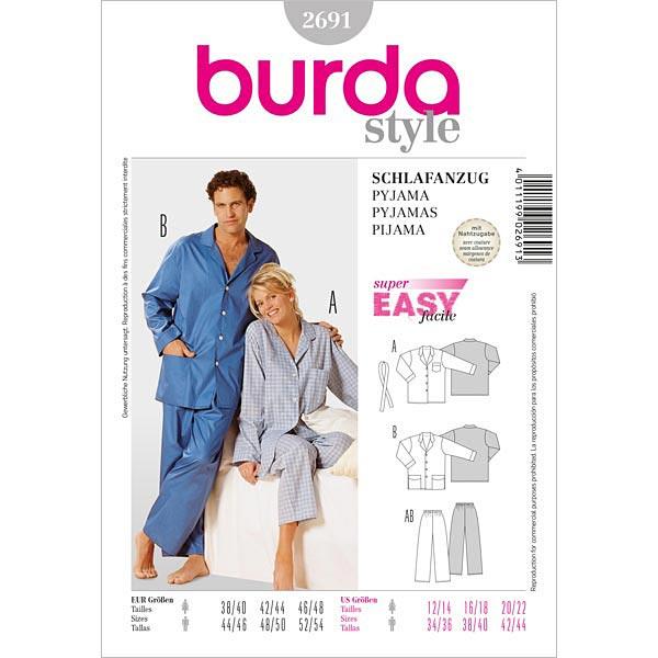 Schlafanzug, Burda 2691 | 38 - 48 - Schnittmuster Wäsche- stoffe.de
