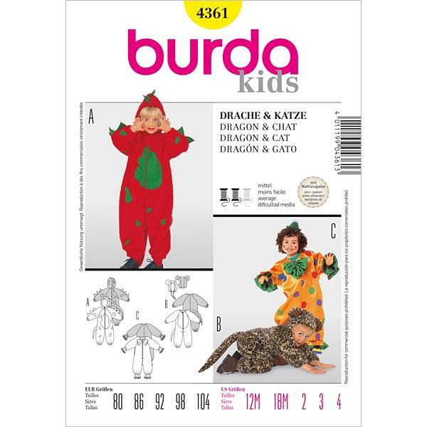 Drache | Katze, Burda 4361 | 80 - 104 - Schnittmuster Karneval ...