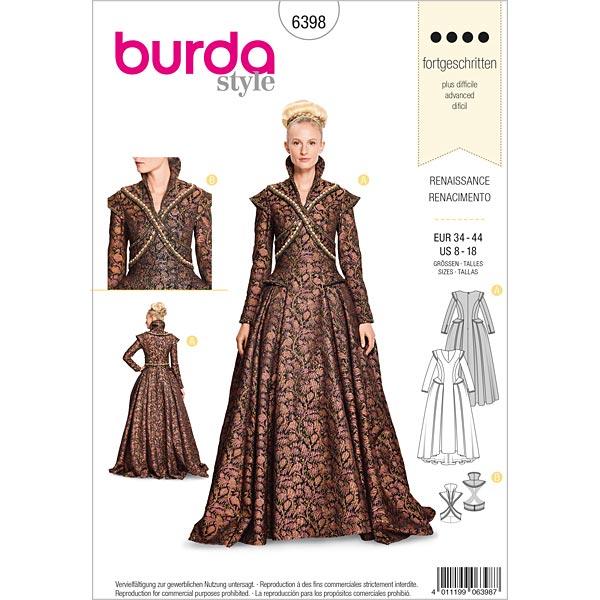 Disfraz histórico, Burda 6398 | 34 - 44 - Patrones de corte ...