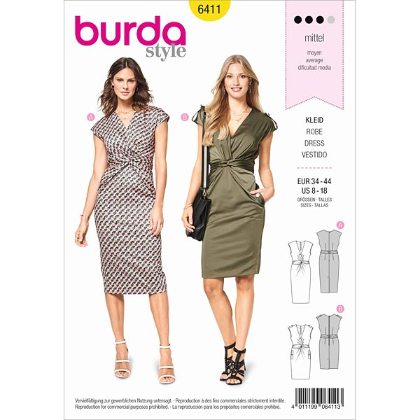 Shift dress, Burda 6411 | 34 - 44 - Dress Sewing Patternsfavorable ...