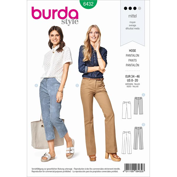 Trousers 7 8 Burda 6432 34 46 Sewing Patternsfavorable Ing At Our
