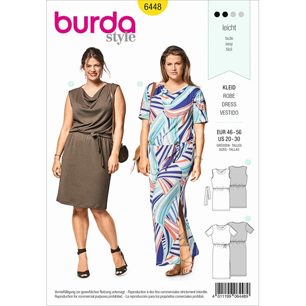 Shift dress, Burda 6448 | 46 - 56 - Dress Sewing Patternsfavorable ...