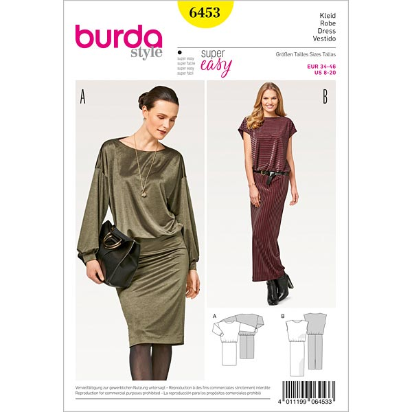 Dress Jersey Burda 6453 34 46 Sewing Patternsfavorable Ing At Our