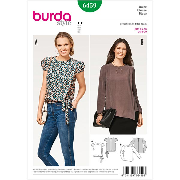Blouse With Wrap Look Burda 6459 34 46 Tops Blouses Sewing Patternsfavorable Ing At Our