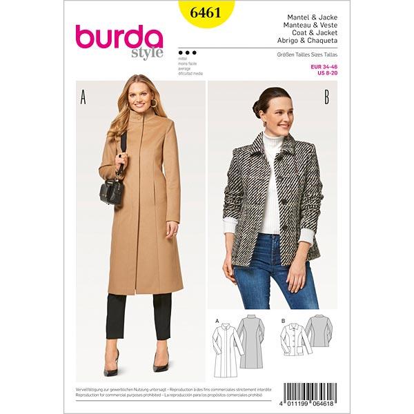 Coat Jacket Burda 6461 34 46 Coats Jackets Sewing Patternsfavorable Ing At Our