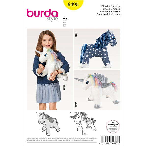 Animal de peluche: Unicornio | caballo, Burda 6495 - Patrones de ...
