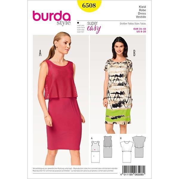 Kleid, Burda 6508 | 34 - 46 - Schnittmuster für Anfänger- stoffe.de