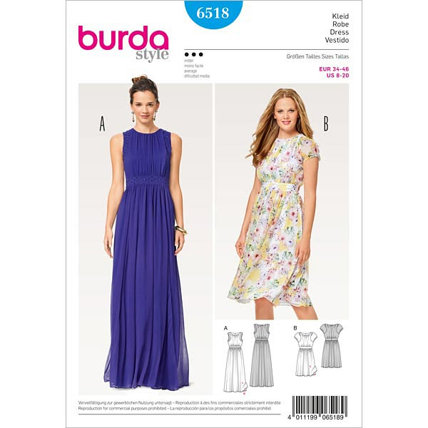 Kleid   Abendkleid, Burda 6518   34 - 46 - Schnittmuster Abendmode ...