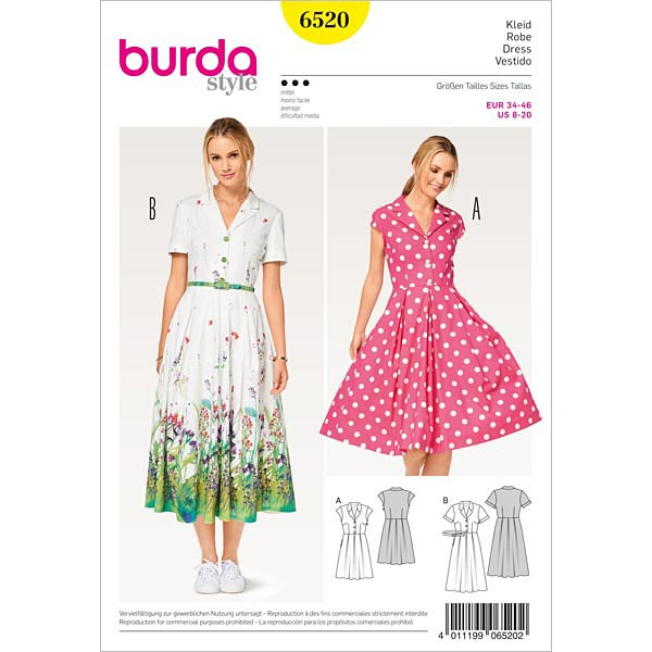 Kleid, Burda 6520 | 34 - 46 - Schnittmuster Kleid- stoffe.de