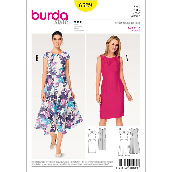Kleid, Burda 6529 | 34 - 44 - Schnittmuster Kleid- stoffe.de