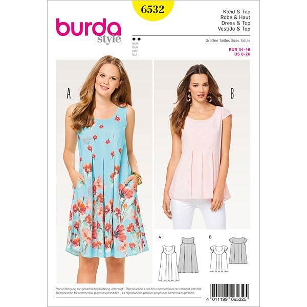 Kleid, Burda 6532 | 34 - 46 - Schnittmuster Kleid- stoffe.de