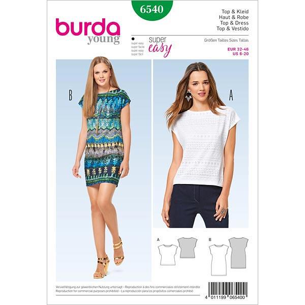 Top | Kleid, Burda 6540 | 32 - 46 - Schnittmuster für Anfänger ...