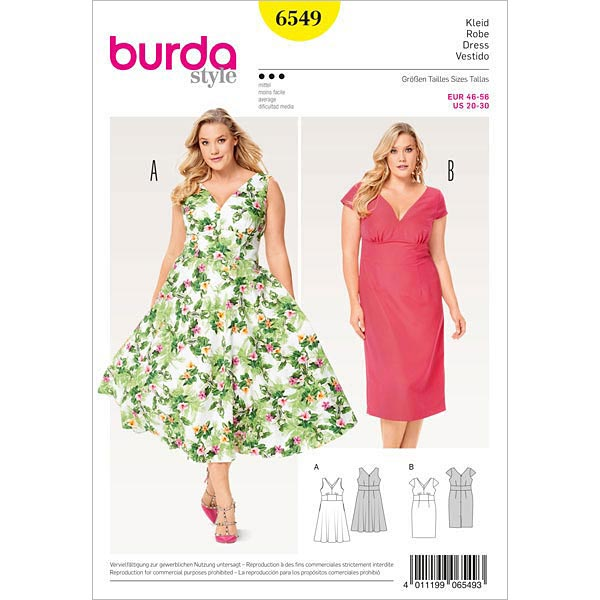 Plus Size - Kleid, Burda 6549 | 46 - 56 - Schnittmuster Plus Size ...