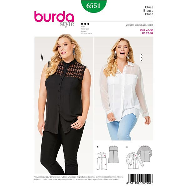 Plus Size - Bluse | Hemdluse, Burda 6551 | 46 - 58 - Schnittmuster ...