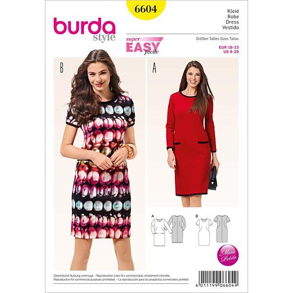 Kleid, Burda 6604 | 16 - 23 - Schnittmuster für Anfänger- stoffe.de